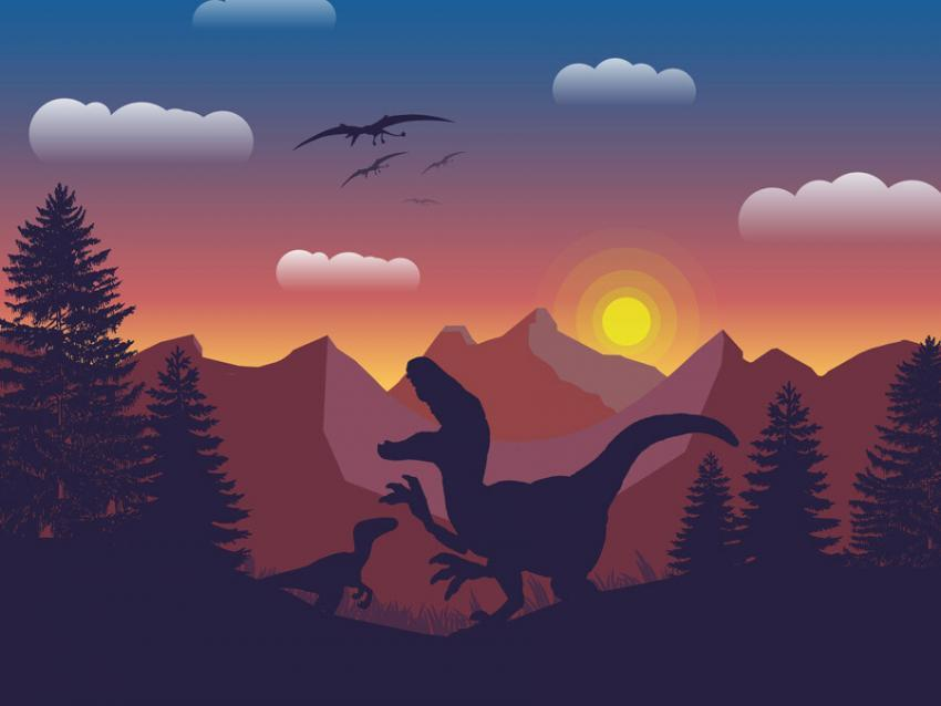 Dinosaurs Sunset