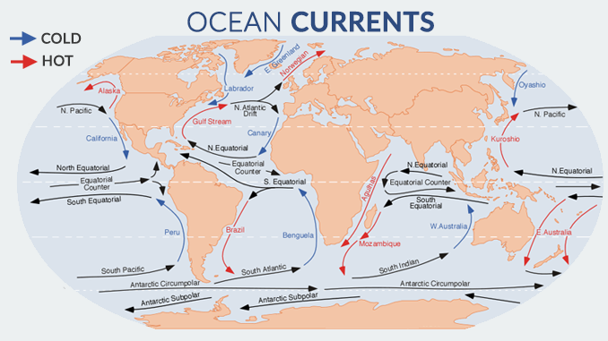 World Map Water.The Major Ocean Currents Of The World Earth How