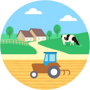 Agriculture Farm Tractor Cow Landscape